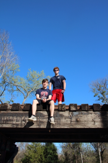 Ben and Patrick on the railroad trellis