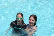 Claire and Tiffany enjoying the pool